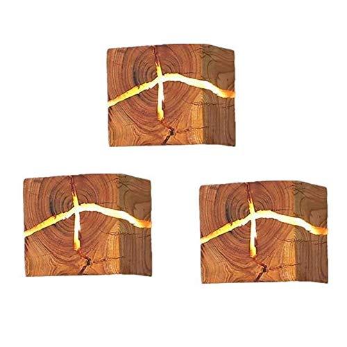 3 paquetes de madera lámpara de pared lámpara de pared de madera, lámparas de pared vintage pequeña luz de noche, 5W tibia blanca lámpara de noche lámpara de noche decoración interior lámpara de espej
