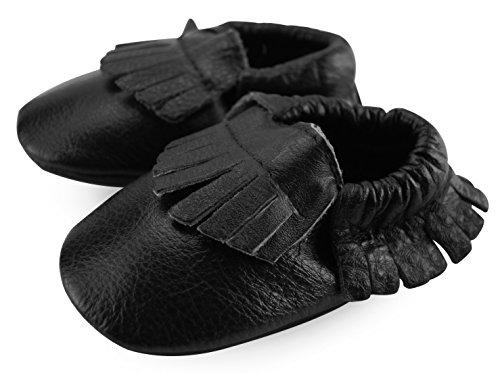 Axy bébé chaussons chaussures en cuir Chaussures bébé chaussures LS de jardin d'Enfant Noir - Noir - noir,