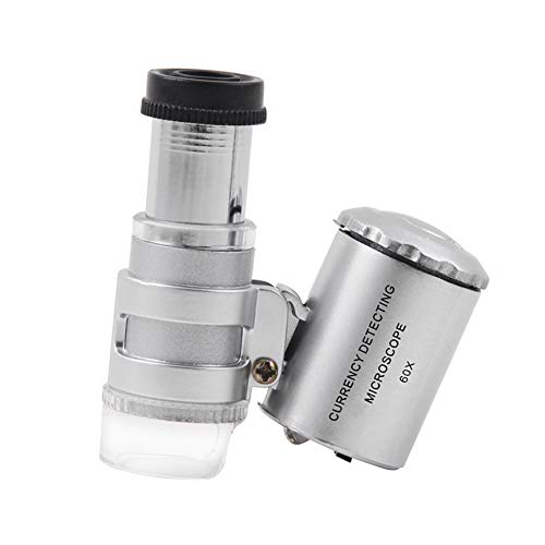 Efanr 60X Microscope Magnifying with LED UV Light, Pocket Jewelry Magnifier Jeweler Loupe for Currency Detecting, Jewelry & Antique Evaluating, Crafting & Repairing