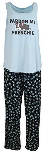 IJAK Women's Sexy Pajama Set, Tank Top and Pants, (Large, Pardon My Frenchie)