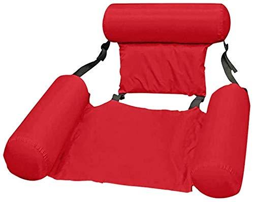 Amaca galleggiante per piscina, sedia reclinabile, gonfiabile, versatile, per adulti e bambini, vacanze, spiaggia (Red)