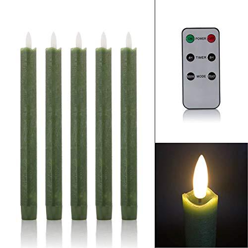 5 LED Stabkerzen Tafelkerzen mit Echtflamme, Fernbedienung und Timer aus Echtwachs - viele Farben wählbar (Grün)