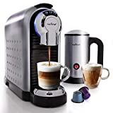 NutriChef Nespresso Machine Coffee & Cappuccino Maker with Milk Frother - Compatible