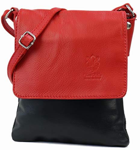 SH Leder ® Umhängetasche Schultertasche Crossover Italienische Handtasche aus Nappaleder 18x21cm Linda G299 (Rot/Schwarz)