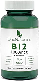 OneNaturals Vitamin B12 Supplement, Methylcobalamin (1000 mcg, Vegan), 100 Tablets - 16,667% Daily Value