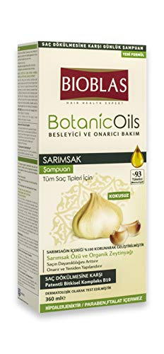 Garlic Shampoo - 360 ml, Odourless, Dermatologically Tested, Anti-Hair Loss Shampoo with Organic Oil | Bioblas Botanic Oils