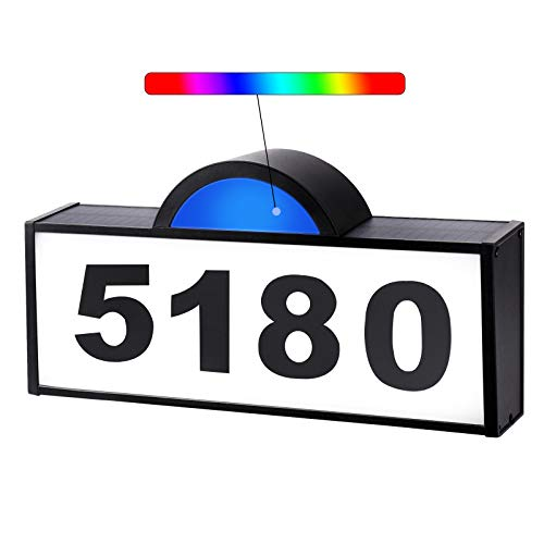 CINOTON House Numbers Solar Powered, Address Numbers Signs RGB LED Illuminated Outdoor IP65 Waterproof, Solar House Numbers Plaque Lighted for Outside Home Yard Garden Street Mail Box Aluminum