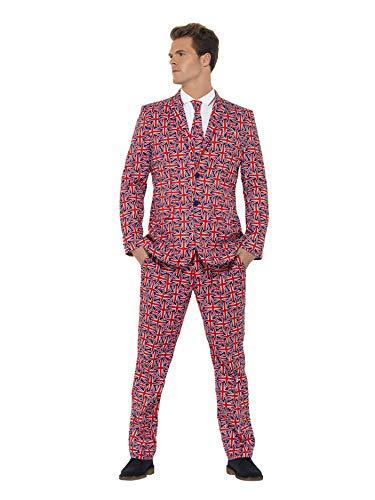 Smiffys, SM43520-M Herren Union Jack Anzug Kostüm, Jackett, Hose und Krawatte, Größe: M, 43520