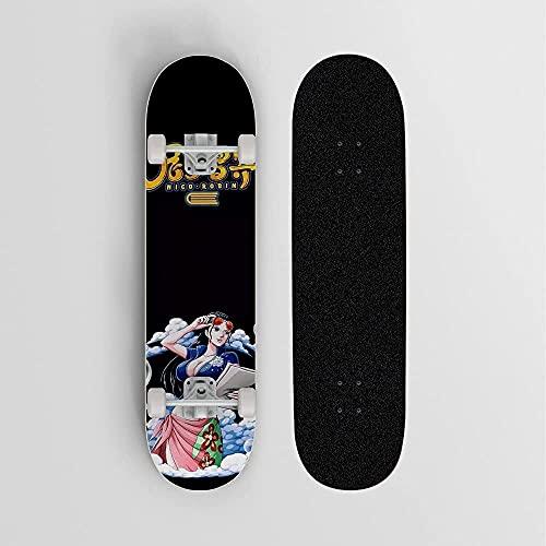 Nixi888 EIN stück nico.Robin schwarzer Hintergrund Anime Skateboard, Mini Cruiser Berg Skateboard Deck 7 Schicht Off Road Bamboo Deck Longboard Board Erwachsene Skateboard, Geschenk