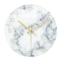 ZHHk シンプルなガラス超静かな丸いベッドルームのリビングルームのバッテリー電源の壁掛け時計/時計