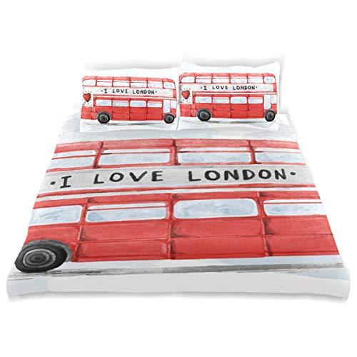 FANTAZIO Twin Size Cover London Bus Watercolor 3 Stuks Beddengoed Set Inclusief 2 Kussenslopen Standaard Maat Kussensloop voor Kinderen Tieners