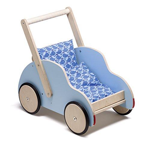 Wendelstein Werkstätten Schiebewagen/Lauflernwagen Little Toni + Bettchen blau Walfisch