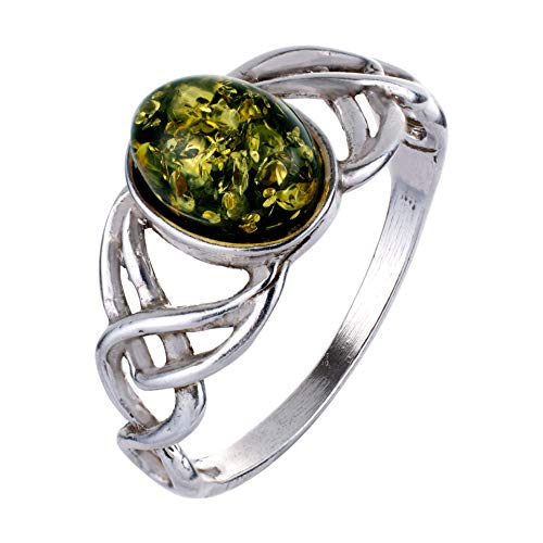 HolidayGiftShops Sterling Silver and Baltic Green Amber Adult Ring Celtic Knots- Size 7