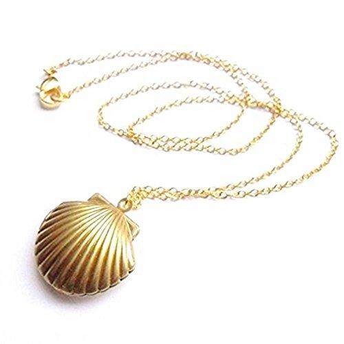Liquidazione offerte, Fittingran Ciondolo Medaglione Conchiglia Placcato Oro con Conchiglia (Oro)