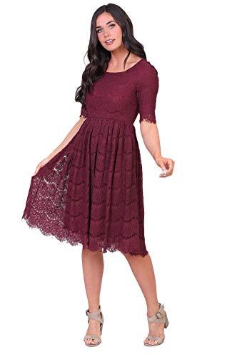 Mikarose Women's Evelyn Modest Half-Sleeve A-Line Lace Dress (Burgundy, Small) (Apparel)