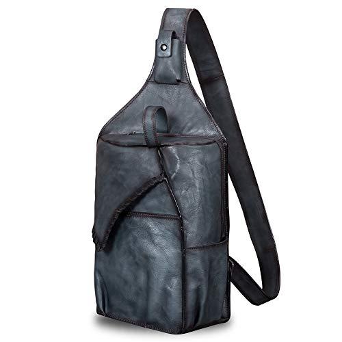 Genuine Leather Sling Bag for Men Vintage Handmade Crossbody Casual Daypack Shoulder Satchel (Gray)