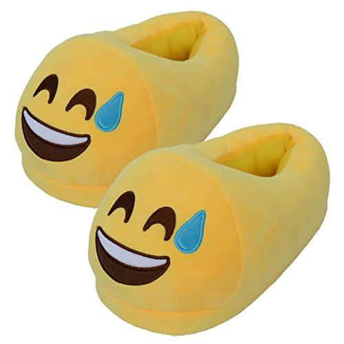 Sannysis® Smiley-Pantoffeln aus Plüsch, Wolle, für Damen und Herren, - G - Größe: free size