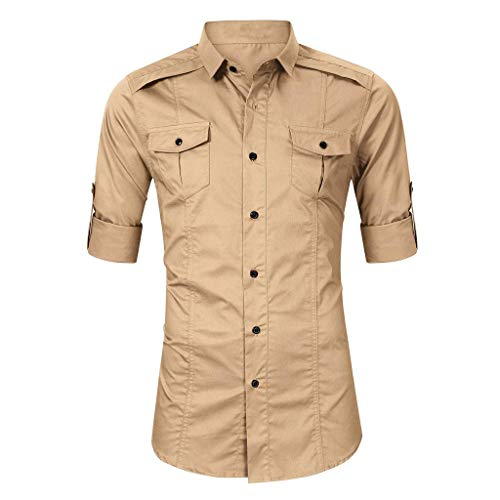 Mens Shirts Long Sleeve Casual Button Down Solid Workout Muscle Tee T-Shirt Tops Blouse Pullover Jumper Sweatshirts Khaki