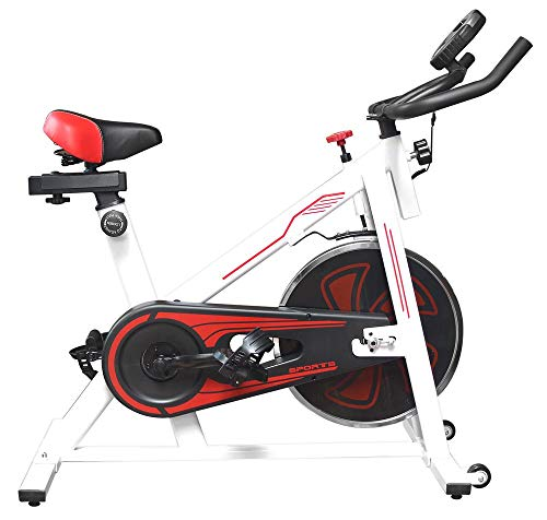UrbanFit Pro Bicicleta Spinning Uso Rudo 13kg Estatica Banda Gym - Blanco