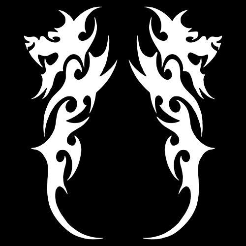 UYEDSR Pegatinas para coche, 2 unidades, diseño de dragón tribal, para coche, modelado de coche, vinilo decorativo para coche, color negro y plateado 7,1 x 18,5 cm