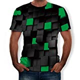 T Shirt Stampa 3D Estate Casuale Manica Corta T Shirt Tees Top in Camicetta Comfort Moderna con Stampa Maniche Corte 3D Stile Estivo da Uomo (XXL,4- Verde)