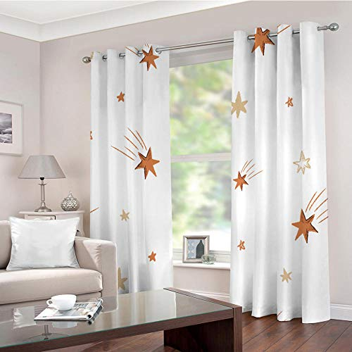 Estrella De Seis Puntas Cortina Opaca con Ojales 2 Piezas Cortinas Térmicas Aislantes Moderna Decoración Ventanas para Dormotorio Sala Salon 115 × 255 CM