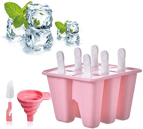 Moldes Para Helado,BKJ Moldes Helados Silicona Reutilizable Moldes Silicona Ice Lolly Moulds Kit De Molde Para Helados Moldes De Paleta De Paletas Con Palos (Rosa)