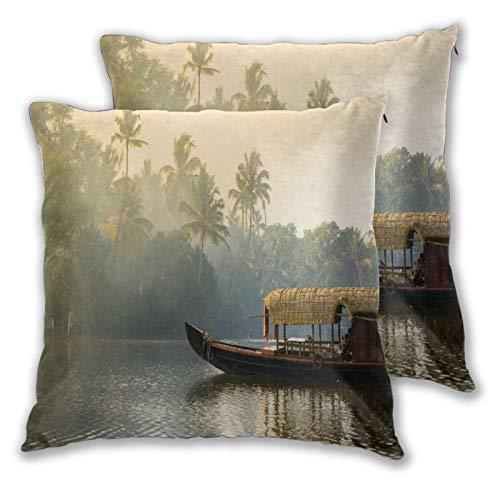 BROWCIN 2 Pack Funda de Almohada Casa Flotante Plana Naranja Kerala anclado en orillas Naturaleza Tranquila Parques de la India Kochi Cochin Turismo Viajes Lino Suave Cuadrado Sofá Cama Decoración