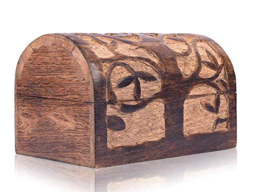 Great Birthday Gift Ideas Handmade Decorative Wooden Jewelry Box With Tree of Life Carvings Jewelry Organizer Keepsake Box Treasure Chest Trinket Holder Watch Box Storage Lock Box (Natural Finish)