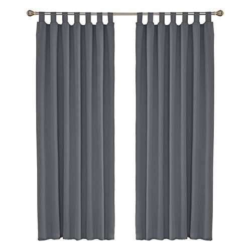 UMI. by Amazon 2 Schals wärmeisolierende Verdunklungsvorhang Blcikdicht Gardinen mit Schlaufenaufhängung Vorhang 140x245 cm Grau