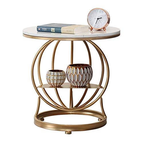 Coffee Table for Living Room Coffee Table Small Bedroom Bedside Lamp Table Creative Shelf Living Room Golden Round Sofa Side Table Marble