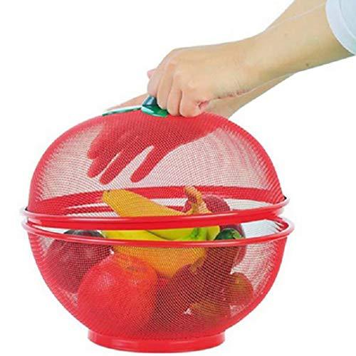 QL Frutero Rejilla Canasta De Frutas Plancha De Fruta De Hierro con Tapa Plato De Cocina Cesta De Drenaje Hogar Fruta Seca Merienda Frutero,Red