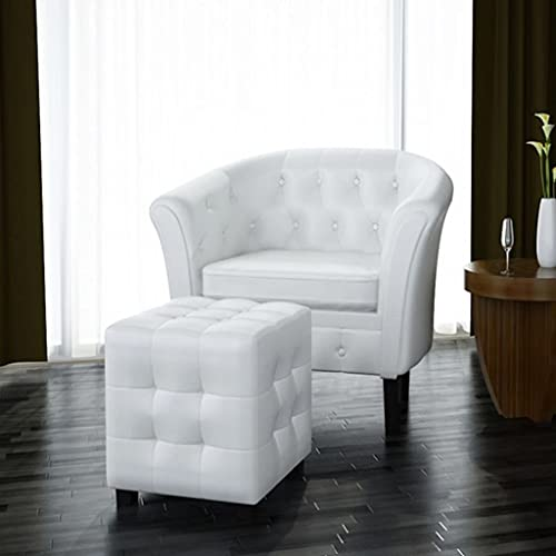 vidaXL Tub Chair with Footstool Armchair Recliner Sleeper Relaxing Sofa TV Chair Living Room Bedroom Office Guest Room Furniture White Faux Leather