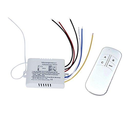 NAMVO väggströmbrytare och fjärrkontroll 3-vägs på/av-ljus digital trådlös strömbrytare 200 V – 245 V digital ljusradio