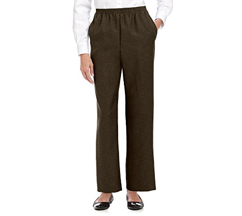 Alfred Dunner Women's Petite Polyester Pull-On Pants - Short Length, Brown, 18 Petite Short