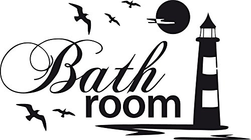Graz Design Wandtattoo Badtattoo Bathroom mit Leuchtturm | Wand-Aufkleber für Dein Bad und WC | Tür-Schild Wellness-Aufkleber | auch für Spiegel - Fenster- Dusche geeignet (54x30cm // 070 schwarz)