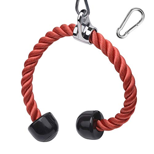 XYZDOUBLE Cuerda Tríceps Accesorio para Cable de tracción hacia Abajo con tríceps y bíceps Multi Gym Nylon Manijas Antideslizantes - Dorsal, Biceps, Triceps, Gimnasio o Hogar-Azul 90cm