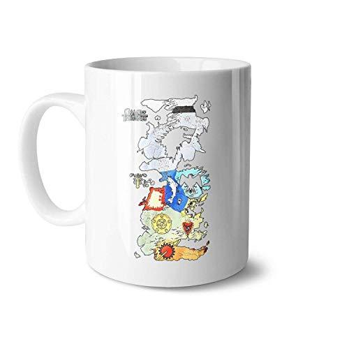 N\A Juego de Tronos Mapa de Todas Las Casas Tazas de té de cerámica Blanca adecuadas para Amigos Tazas exquisitas de Gran tamaño 11OZ