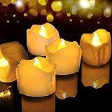 Velas de LED 12 Pcs, FOCHEA Velas Eléctricas Sin Llama con Mando a Distancia para Bodas Decoración, Navidad, San Valentín, Cumpleaños, Fiestas (Blanco Cálido)
