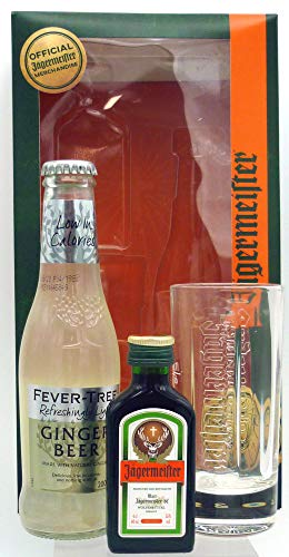 Jagermeister Root 56 Fever Tree Ginger Beer and Glass