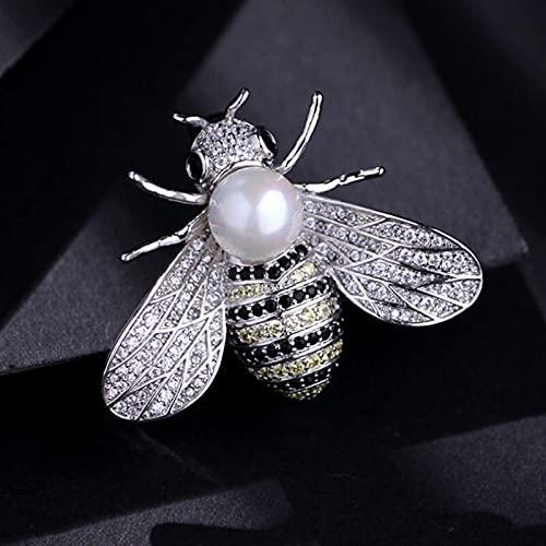 LEILEIMY Broche Brooche Serie Insectos para Mujeres, Broche Delicado Pequeña Abeja, Rhinestones de Cristal, Regalos de joyería para niñas Accesorios (Metal Color : Silver)