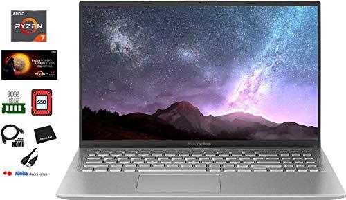 2020 ASUS VivoBook Ultra Thin and Lightweight 15.6'' Full HD Laptop AMD Quad-Core Ryzen 7 3700U up to 4.0GHz 12GB DDR4 RAM 512GB PCIe SSD AMD Radeon RX Vega 10 HDMI Bluetooth Windows 10 Aloha Bundle