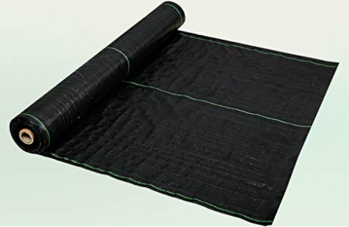 RSH Ground Cover Landscape Fabric Weed Control Fabric Heavy Duty PP Portable Package Membrane UV Stabilised Black Comes With 100 Nails For Patios Garden Flower Beds Landscaping Pathways Drives