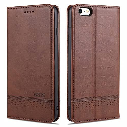 CRABOT Reemplazo para iPhone 6 Plus Funda de Cuero PU Plegable Cartera Cierre Magnético Ranura para Tarjeta,Soporte Plegable Protectora Cover(Marrón)