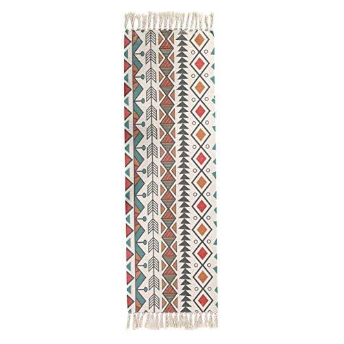 ZHOUAICHENG Ethnischen Stil Baumwolle und Leinen Teppich Vintage Plain Tapisserie handgefertigten Studie des Schlafzimmers Sofakissen Quaste Schal Bunte geometrische Muster Decke Boden Pad,B,60x90cm