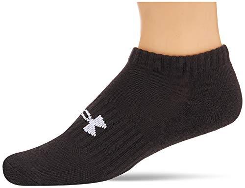 Under Armour Unisex UA Core No Show 3Pk Low Socks, Black/Black/White, LG