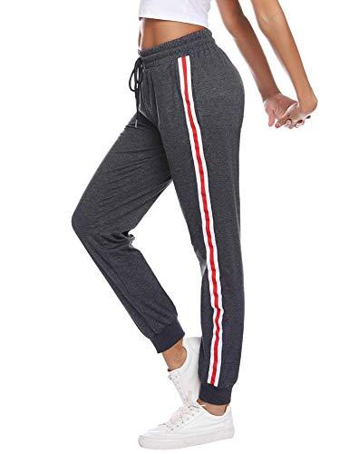 Sykooria Damen Jogginghose Sporthose Lang Yoga Hosen Freizeithose Laufhosen Baumwolle High Waist Trainingshose für Frauen mit Streifen-Streifen-dunkelgrau-L