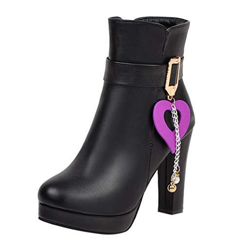 ZHANSANFM Kurz Stiefel Damen Süß Quaste Stiefeletten Reißverschluss Schnalle Elegant Ankle Boots...
