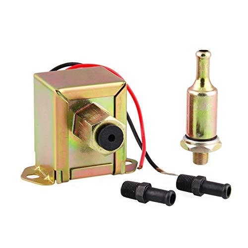 ZqiroLt Autokraftstoffpumpe, Universalfahrzeug 12V 4-6 PSI Benzin Diesel Unions Inline Filter Copper