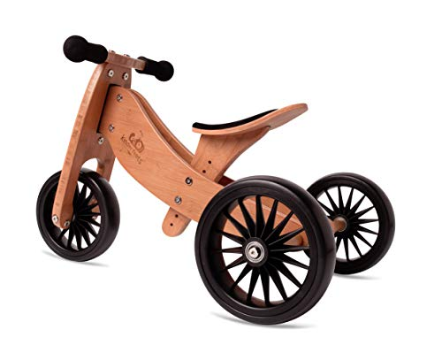 New Kinderfeets, Kids Tiny Tot Plus Balance Bike, Adjustable Seat, Puncture Proof Tires, Pedal-Free Training Bicycle for Children and Toddlers Ages 18 Months and up (Bamboo)
